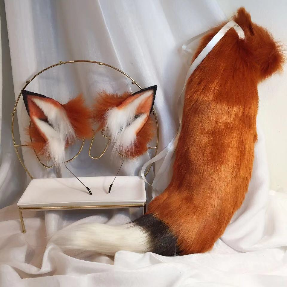 New Red Fox Anime Beast Ear Beast Tail Wolf Ear Cat Ear Fox Ear Headband Custom COSPLAY