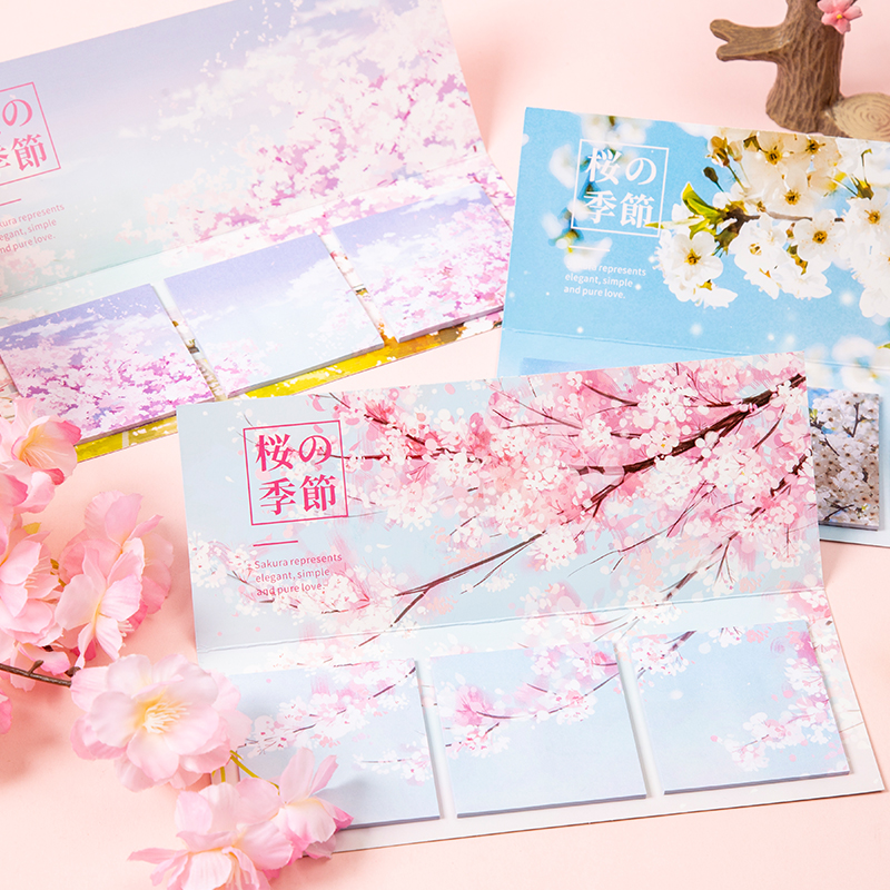 COO NOTE Creative 60 Pages Romantic cherry blossom notes Sticky  Memo Pad Gifts School Stationery Supplies