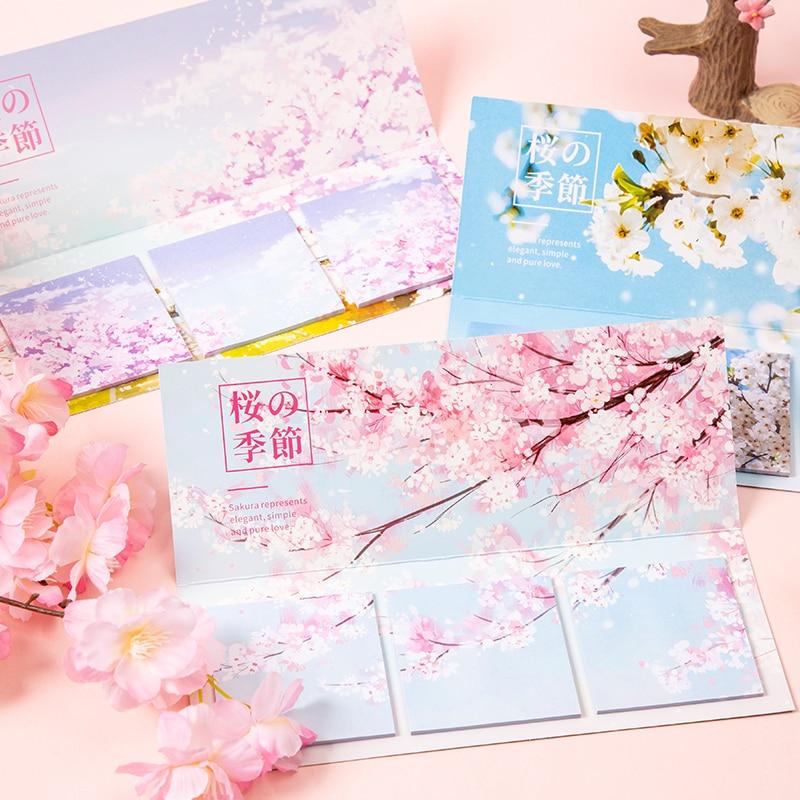 Печенья банка с крышкой NOTE креативный 60 страниц романтический цветок вишневого дерева липкая бумага для заметок Блокнот подарки школьные к...