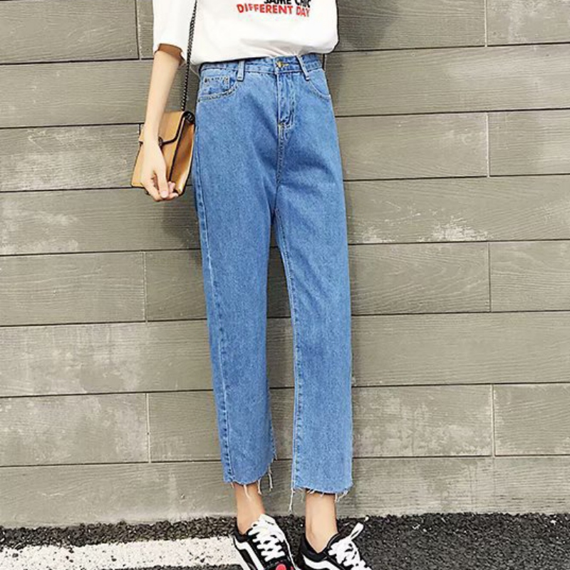 Autumn New Jeans Woman Harem Pants Fashion Casual Mom Jeans Loose Ankle-length Straight High Waist Jeans Plus Size Jean 4XL