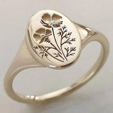 Delicado oval wildflowers anéis delicado requintado padrão de impressão flor anel para mulher mão-esculpida jóias presente bijoux femme