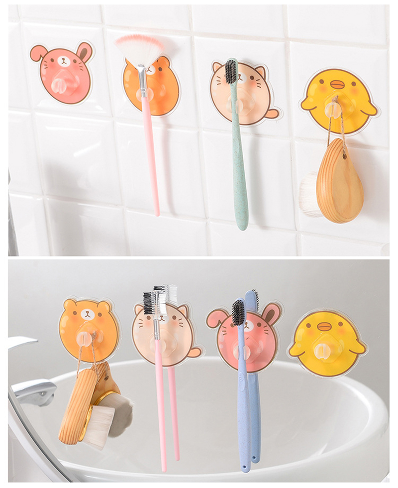 Creative Wall-mounted Cartoon Toothbrush Holder Without Sticking Toothbrush Rack Bathroom Accessories