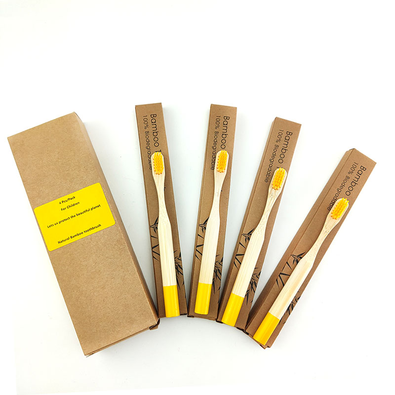 4pcs Eco Friendly Wood Toothbrush With Box Bamboo Cylindrical ToothBrush Child Bamboo Fibre Wooden Handle Brush image