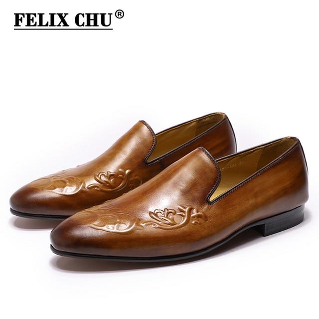 FELIX CHU Streetแฟชั่นผู้ชายLoaferลื่นบนหนังแท้สีน้ำตาลCasualธุรกิจรองเท้าแต่งงานรองเท้าMens