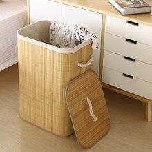 Folding Dirty Clothes Storage Basket Bamboo Laundry Washing Bag Foldable Organizer Large Hamper One Three Grids Bathroom WomenWF