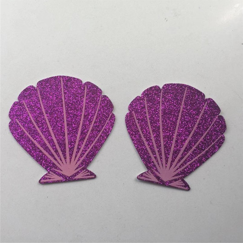 10 пар/лот одноразовые накладки на грудь покрывает фиолетовый блеск Оболочка Сексуальная застежка на липучке на бюстгальтере коврик Pastie. Ин...