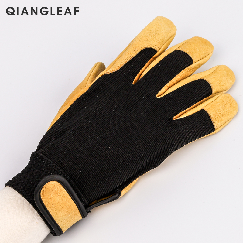 Image 2 - QIANGLEAF Brand New Protection Safety Glove Cowhide men yellow Leather Driver Security Protection Racing Moto Work Gloves 508NP-in Safety Gloves from Security & Protection