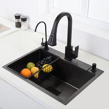 Preto pia da cozinha 304 aço inoxidável vegetal bacia de lavagem pia preta acima do contador ou udermount único pia cozinha