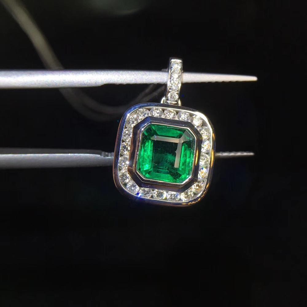 Fine Jewelry Pure 18 K Gold AU750 G18K Natural 100% Green Emerald 1.05 Pendant Gold Diamond Pendant Gemstone Necklaces for Women
