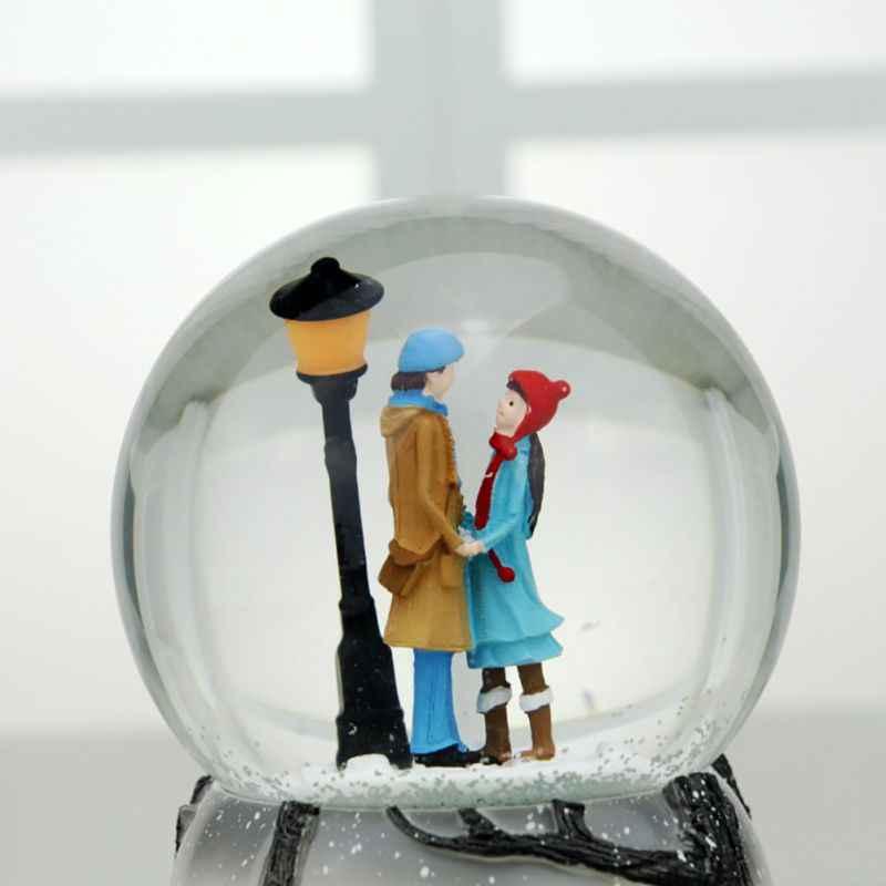 חדש מוסיקה תיבת אוטומטי תרסיס פתית שלג שמיים עיר קריסטל כדור זוג רומנטי האהבה יום מתנה נסחף שלג קישוט