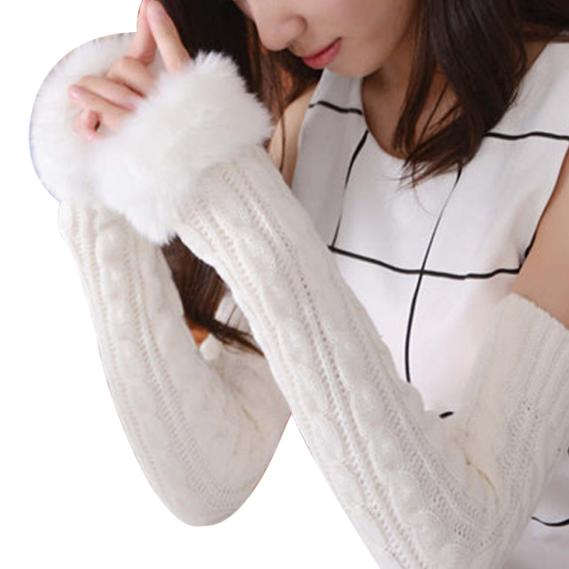 Women's Faux Fur Cable Knit Arm Warmers Long Fingerless Mittens Crochet Knit Elbow Length Thumb Hole Warm Gloves