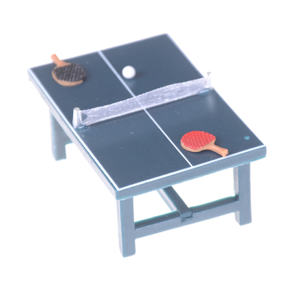 1/12 Plastic Dollhouse Miniatures Furniture Sports Game Tennis Table Bat And Balls Full Set For Kids Pretend Play Toy