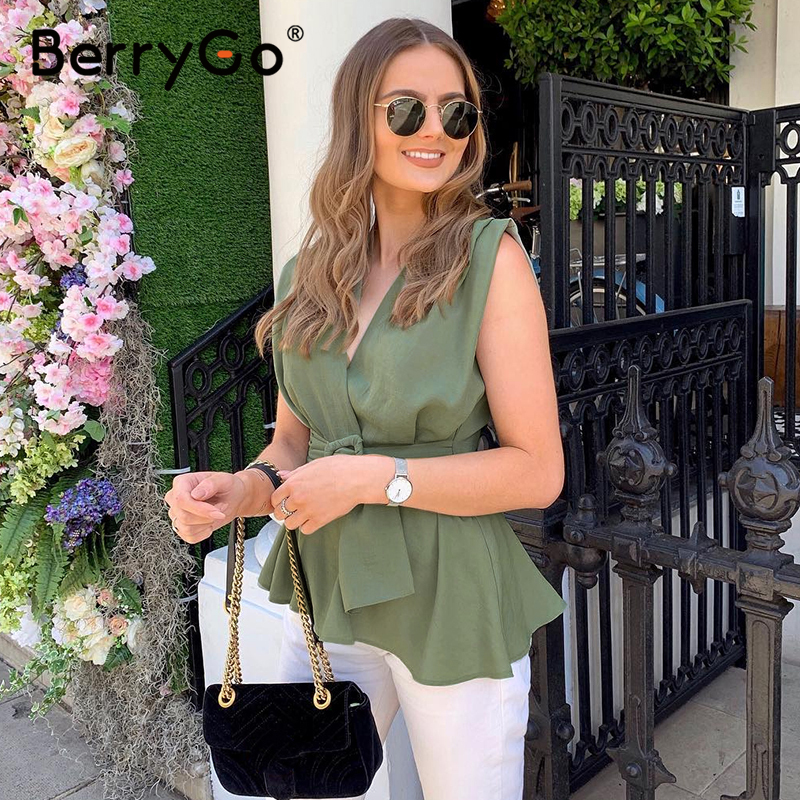 BerryGo Elegant Sleeveless Women Tops Shirt Feminina Sexy Office Ladies Tank Top Green Casual Female Work Wear Summer Tops Camis