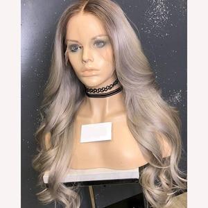 Прозрачный пепельного цвета блонд эффектом деграде (переход от темного к Грейс волна Синтетические волосы на кружеве человеческих волос па...