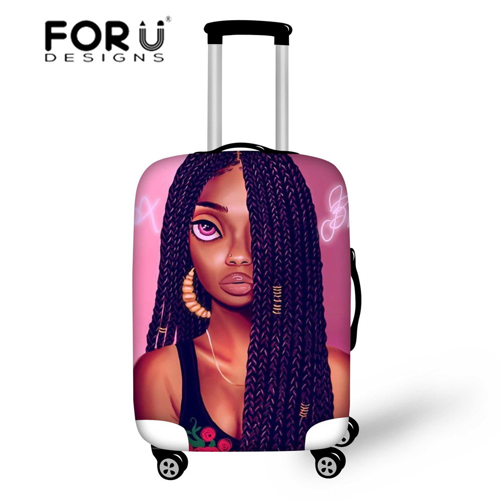 FORUDESIGNS Black Girls Magic Luggage Covers Women Travel Suitcase Protective Covers For 18-30 Inch Elastic Trolley Bags Bolsa