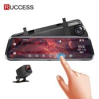 RUCCESS Mirror DVR Rear View Camera Full HD 1080P Dash Cam Dual Lens Dashcam GPS Screen Stream Media 10'' Touch Screen 2 Camera