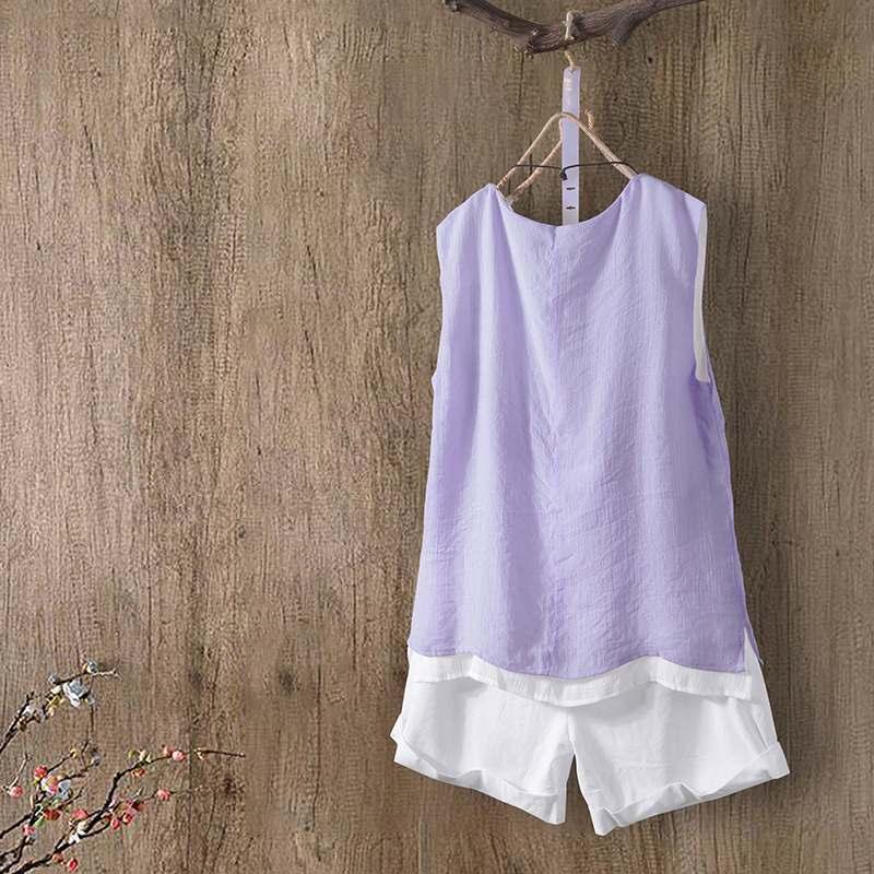 Zanzea blusa kaftan sem mangas, camiseta feminina