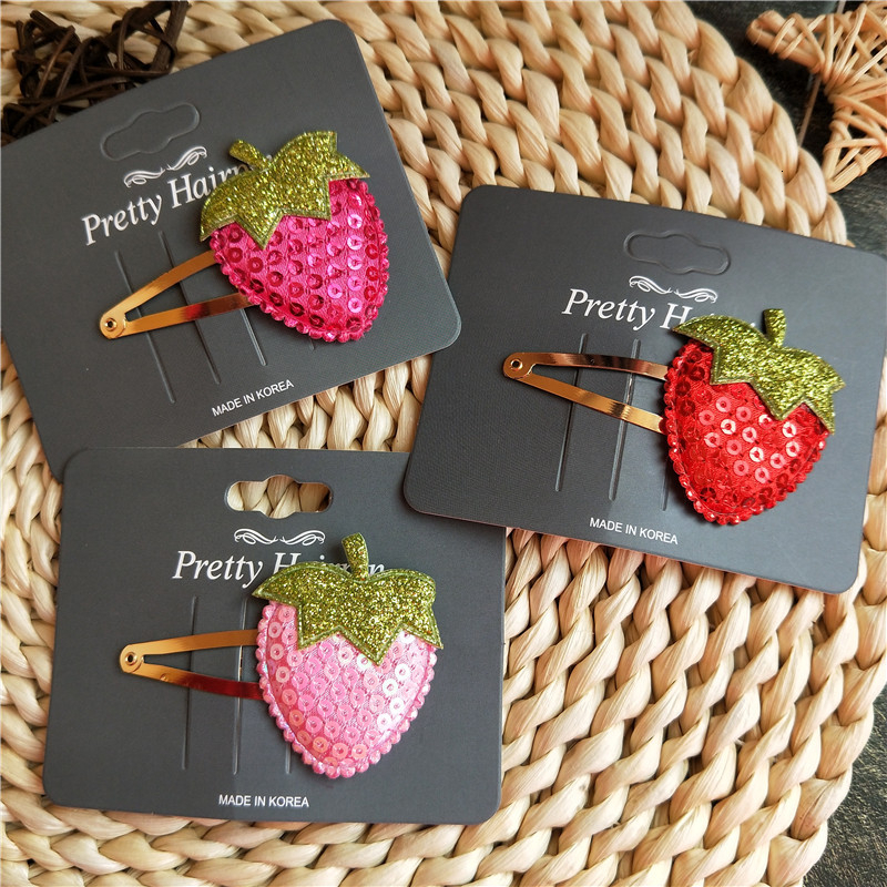 1PCS New Cute Sequins Strawberry BB Clips Hairpins Girls Hair Accessories Children Headwear Baby Hair Clips Headdress