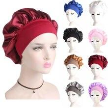 Womens Satin Solid Wide Brimmed Sleeping Hat Night Sleep Cap Hair Care Bonnet Nightcap Headband Waterproof Reusable Headwear