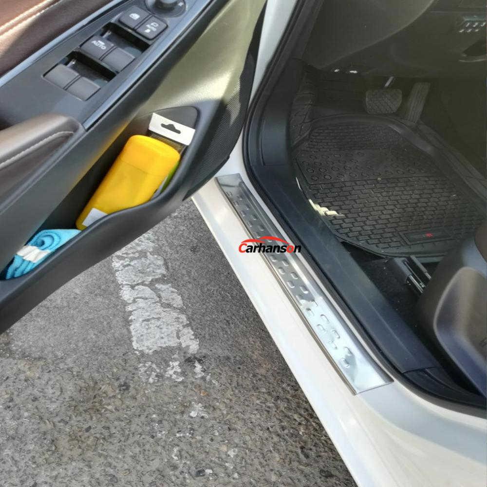 Acessórios do carro estilo para mazda demio 2 2015-2018 dl sedan dj hatchback protetor do peitoril da porta capa inoxidável scuff pedal guarnições