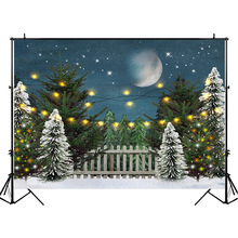 NeoBack Winter Snowflake Forest Photography Backdrops Night Starry Sky Moon Backdrop Newborn Baby Kids Background