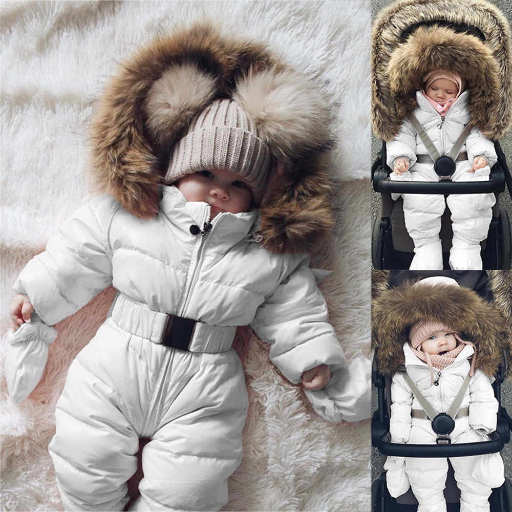 Baby Down Jacket Jumpsuit Winter Newborn Baby Jacket Winter Fashion Solid Thick Hooded Warm Romper Baby Winter Warm Bodysuit