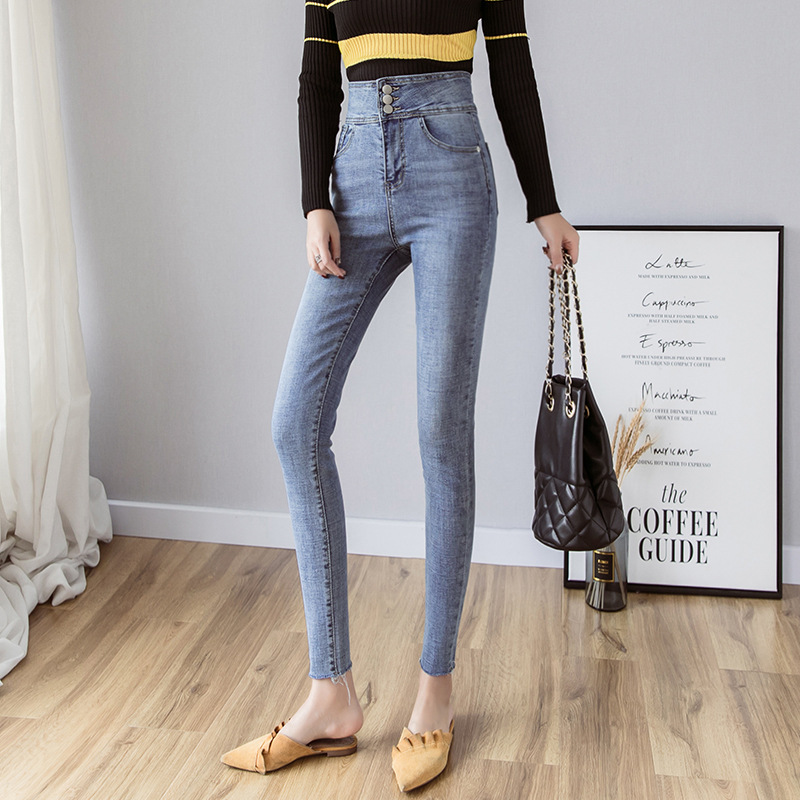 Photo Shoot 2019 Autumn New Style Jeans Women's High-waisted Slimming Elasticity Tight Capri Pants Skinny Slim Fit Pencil Pants