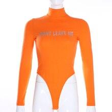 Darlingaga Autumn Winter Turtleneck Bodysuit Women Reflective Letter Body Long Sleeve Streetwear Fitness Jumpsuit Bodysuits Tops