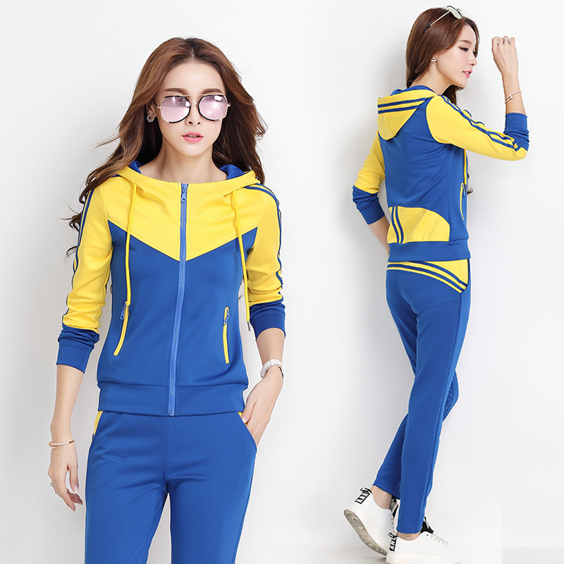 Sports WOMEN'S Suit 2019 Spring And Autumn Hooded Sports Leisure Suit Teachers Kindergarten Suit Running Sports Clothing Two-Pie