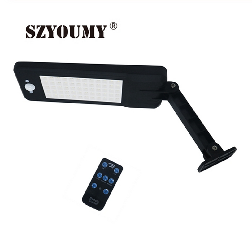 SZYOUMY 900Lm Solar Lamp PIR Motion Sensor 60 Led Wall Light With Remote Control Waterproof Solar Powered Lamp For Outdoor