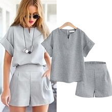 Casual Cotton Linen Two Piece Sets Women Summer V-Neck Short Sleeve Tops and Shorts Female Office Suits Set Women's Costumes 2 piece set women hot summer women s casual cotton sleeveless v neck short tops lace up high waist shorts