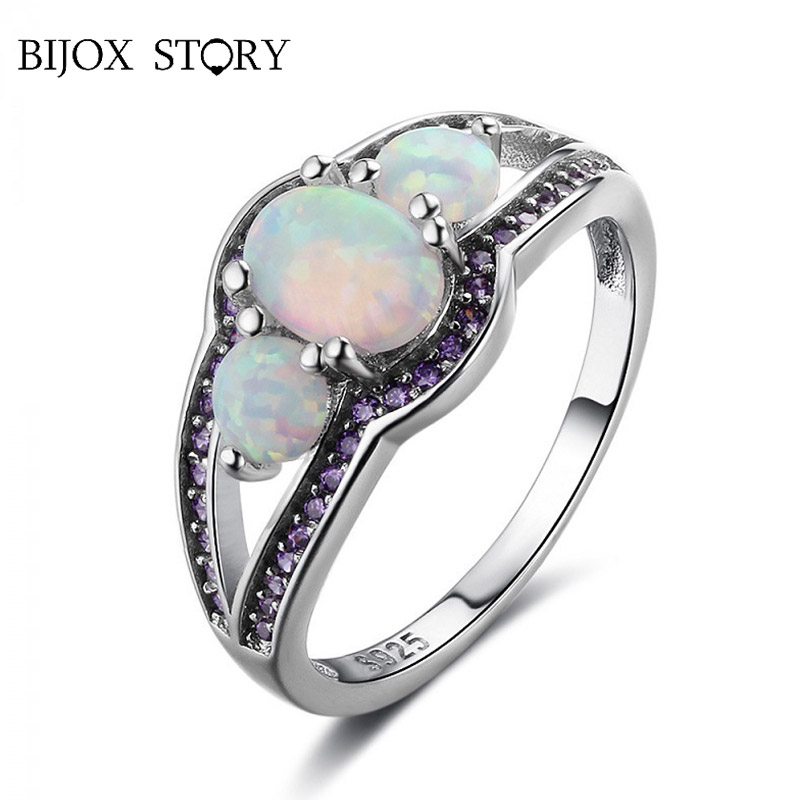 BIJOX STORY romantic silver 925 ring for female jewelry with opal amethyst gemstones fashion rings wedding party gift size 5-12