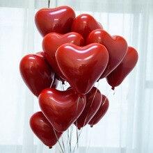 10-дюймовая шпилька в форме сердца граната красный латексных воздушных шаров с вечерние декоративные Проволочная сетка Рубин двойной Слои шар 100 мешке мяч