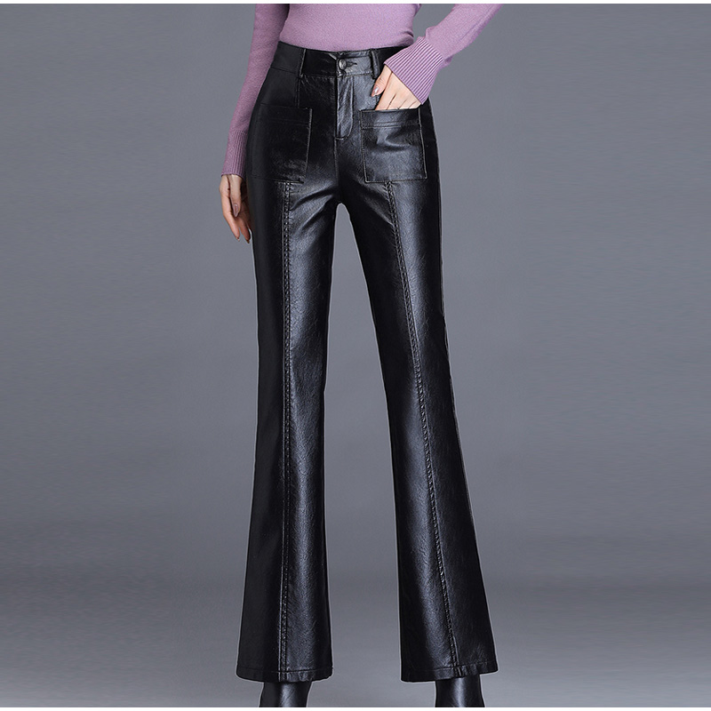 Image 3 - Plus Size Pockets Stretch Pu Leather Flare Pants 3Xl 4Xl Winter  Women Office Ladies Workwear Bell Bottom Pu Long Trousers MujerPants