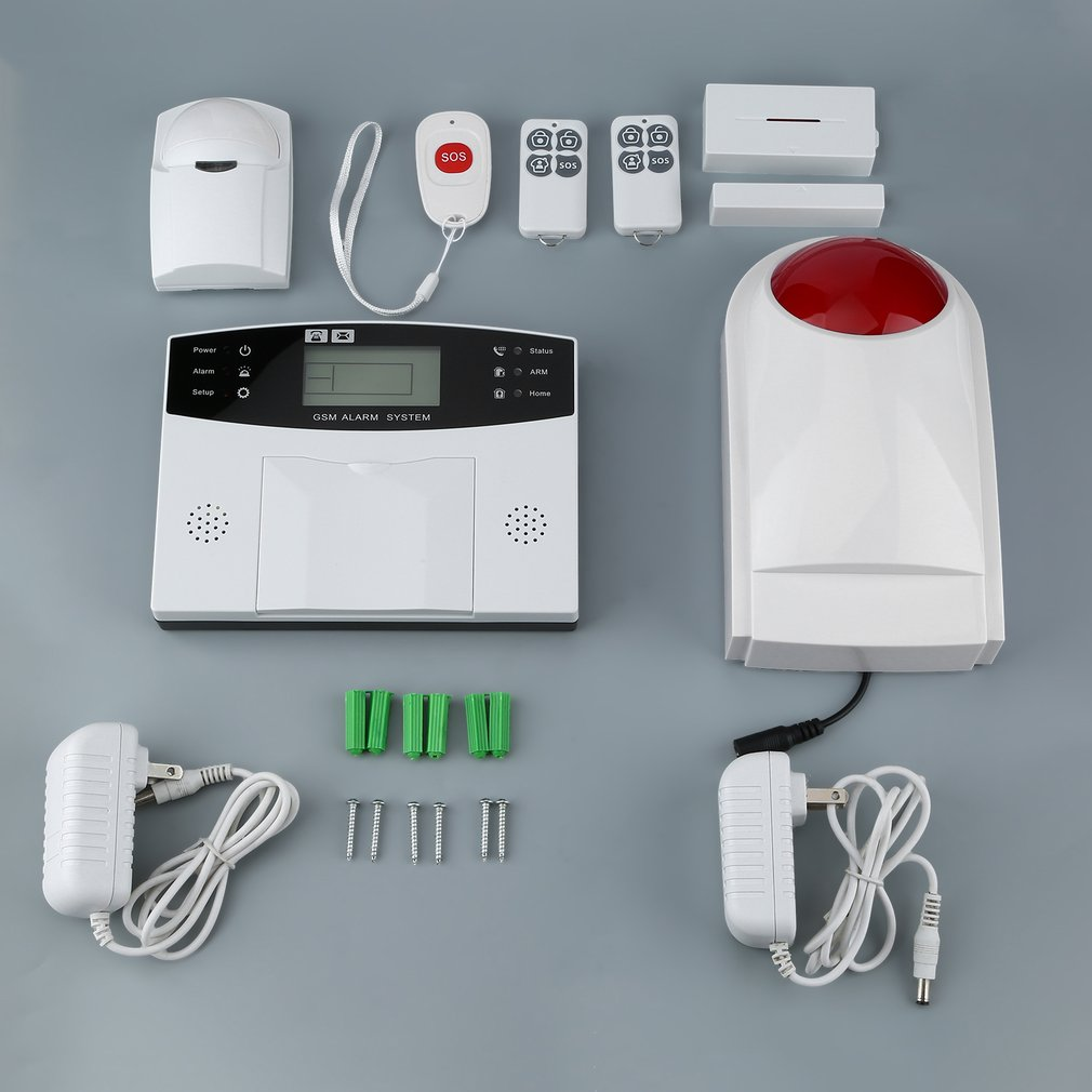 9pcs/set GSM Wireless Smart Voice Anti-theft Alarm System With LCD Display&PIR Sensor&Magnetic Door Detector&Strobe Siren