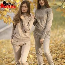 Damski kombinezon z dzianiny i zestawy swetry z golfem + długie spodnie 2 szt. Dresy zimowe damskie spodnie z dzianiny + kombinezony