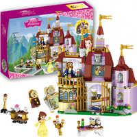 37001 princesa belles castelo encantado blocos de construção para a menina compatível com lepining amigos crianças modelo marvel brinquedos presente