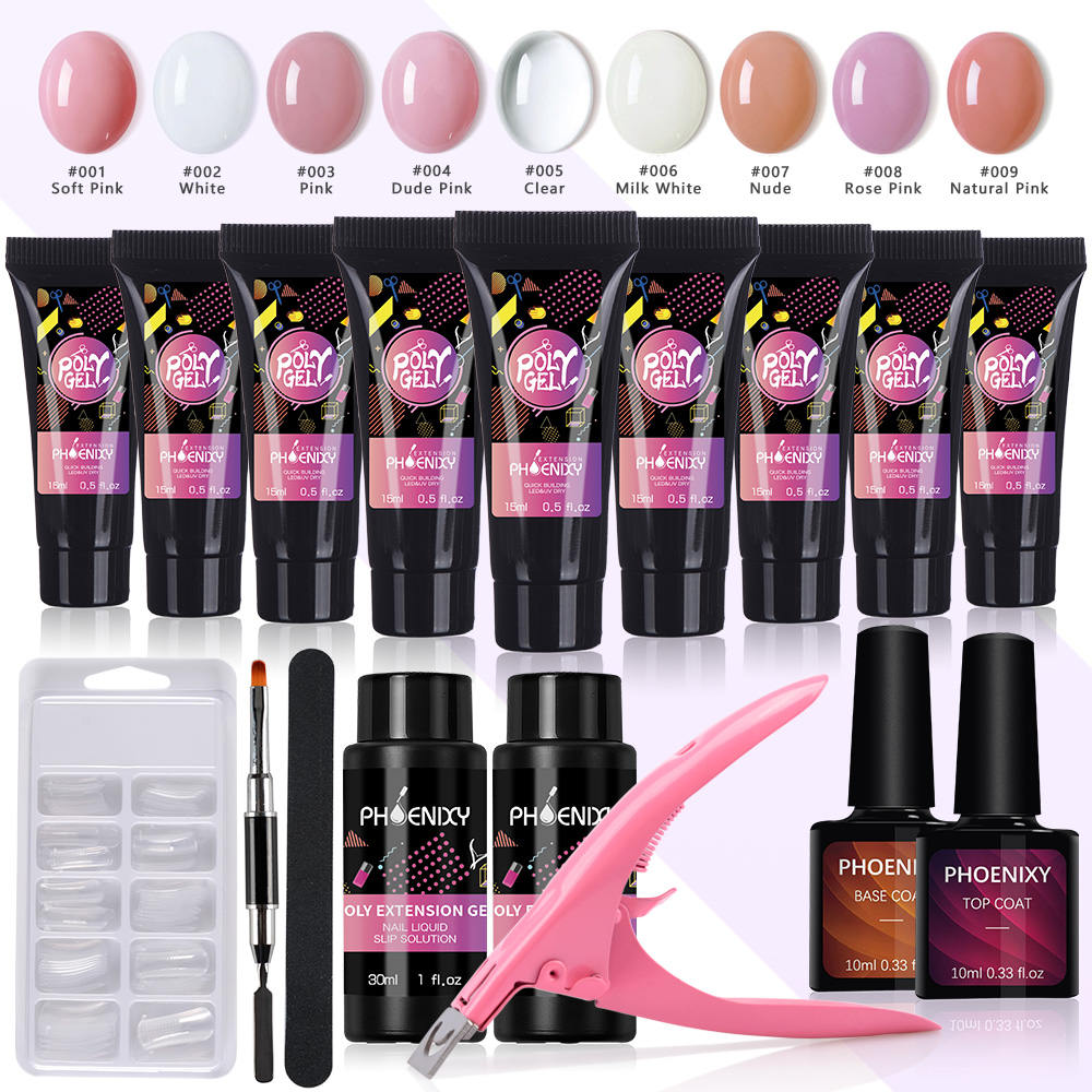 Manicure Set Poly Gel Nail Set Full Gel Handle Kit Top And Base Coat Manicure Tools Nail Extension Kit Everything For Nail Kit
