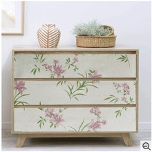 PVC Peel And Stick Wallpaper Floral Pattern Living Room Background Waterproof Wall Stickers Furniture Decorative DIY Home Decor