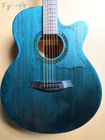 new design blue color pull silk acoustic electric guitar with microphone EQ 40 inch 6 string folk guitar acoustic guitar
