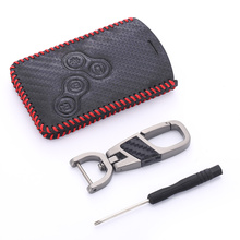 цена на Leather Key Package Cover with Keychain 4 Buttons Car Styling Cover Case for Renault Koleos Laguna 2 3 Kadjar Megane 1 2 3 Clio