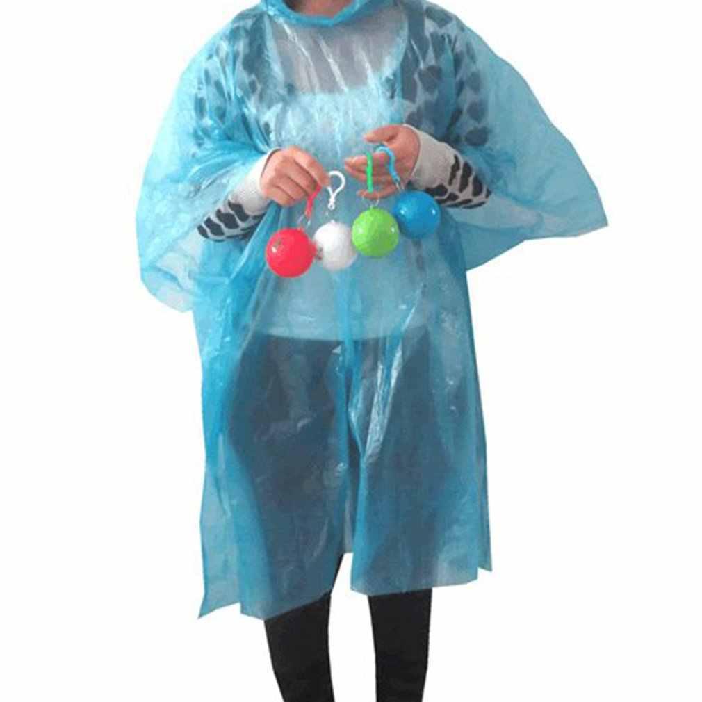 Kompak Gantungan Kunci dengan Desain Sekali Pakai Jas Hujan Dewasa Darurat Tahan Air Tudung Ponco Perjalanan Berkemah Harus Mantel Hujan Unisex