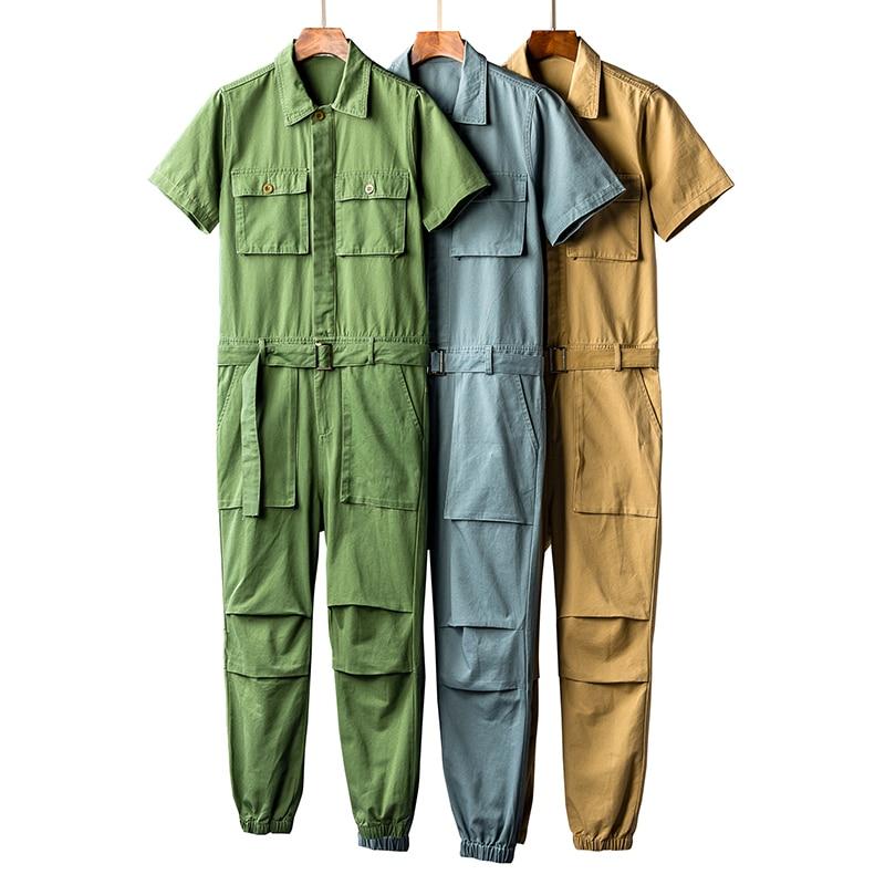 Jumpsuits Men Short Sleeve One Piece Overalls Cotton Casual Mens Jumpsuit Rompers Summer Male Set Clothes Plus Size 5XL