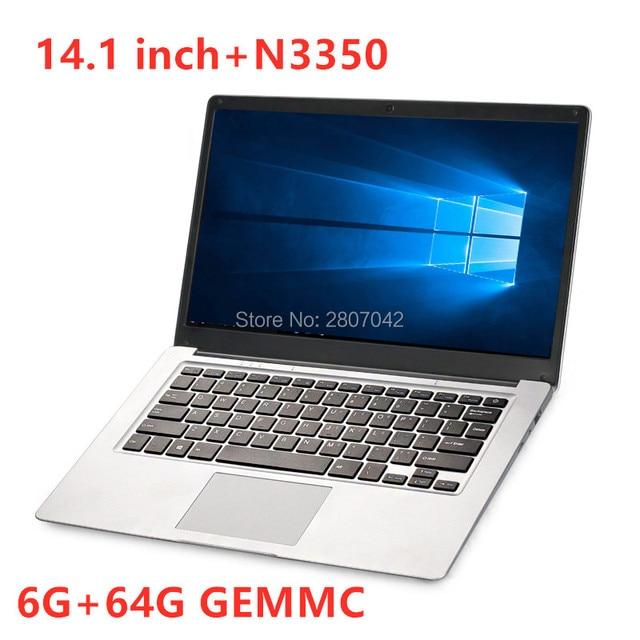 14.1 inch Student Intel Laptop 6GB RAM 64GB Notebook N3350 Quad Core Ultrabook With Webcam Bluetooth WiFi 1