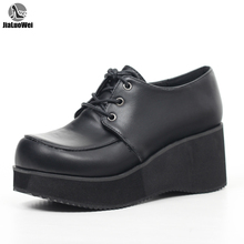 JIALUOWEI New Style Unisex's Rockabilly Casual Lace Up Creeper Platform shoes 36-46