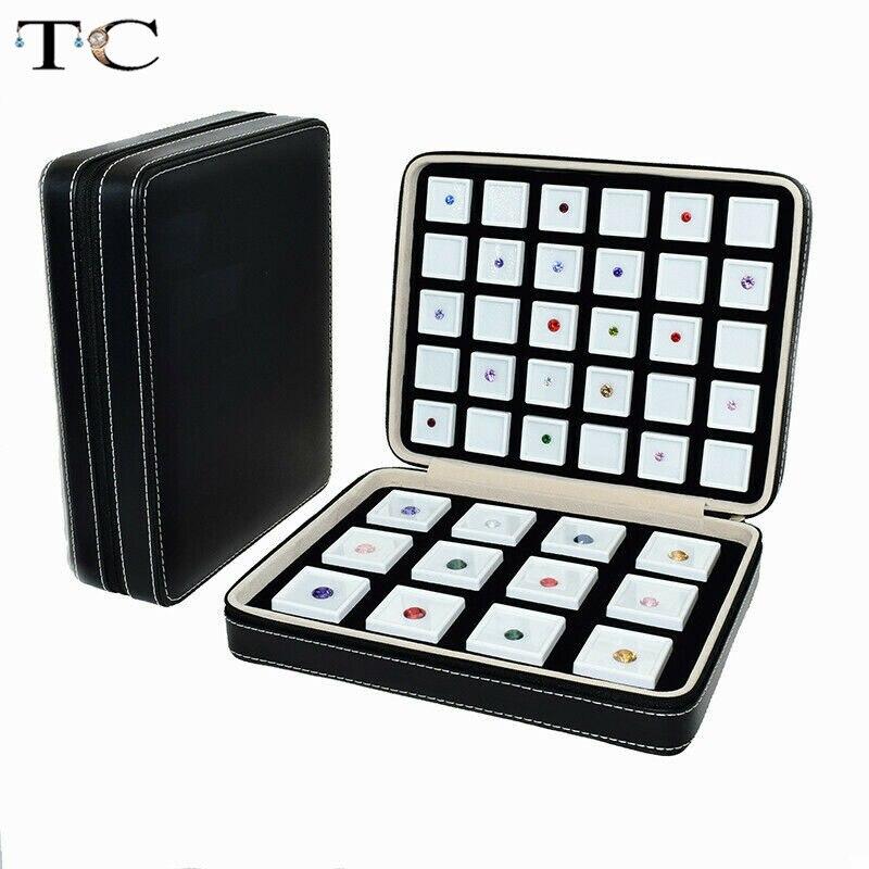 Портативная коробка из искусственной кожи с драгоценным камнем, коробка для хранения, дисплей с драгоценным камнем, дорожная сумка на молни