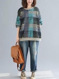 DIMANAF Oversize Women Sweatshirts Vintage Plus-Size Tops Long-Sleeve Thick Winter Cotton