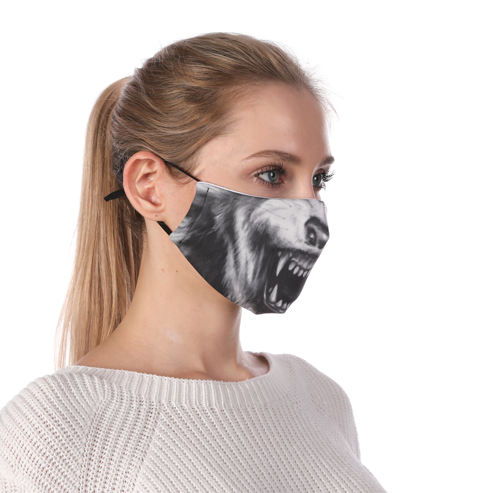 Zohra Wolf Printing Reusable Protective PM2.5 Filter Mouth Mask Anti Dust Face Mask Windproof Adjustable Face Masks