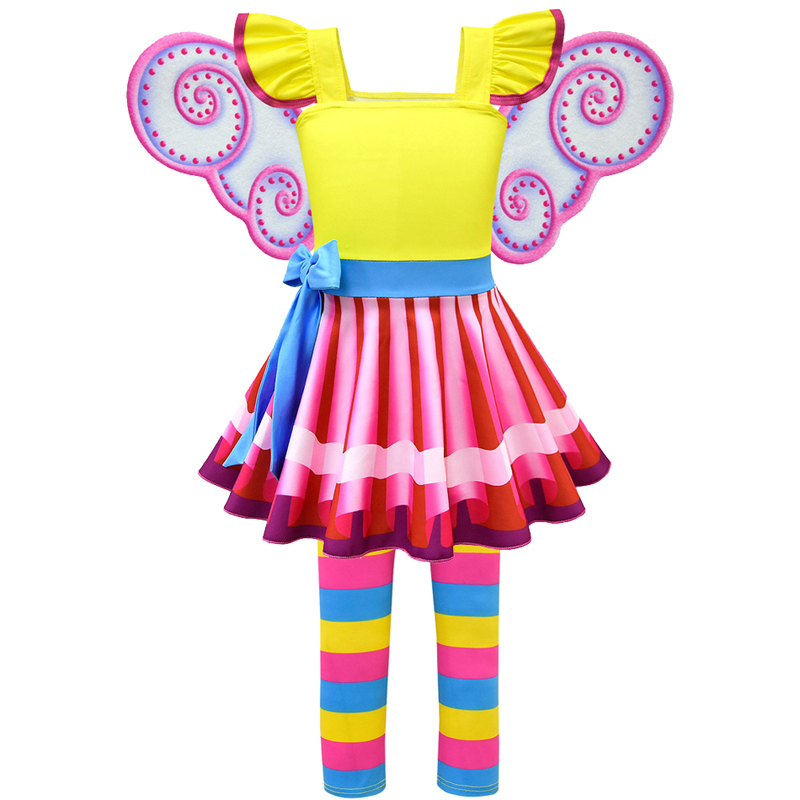 Girls Fancy Nancy Dress New Summer Toddler Children Birthday Party Dresses Cosplay Costume T Shirt Pants Wings Necklace Clothes
