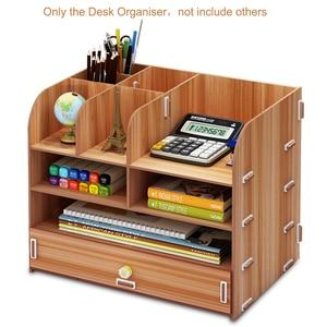 Image 4 - Large Multi Function DIY Desktop Storage Box Wooden Office Multi layer File Rack Supplies File Book Organizer Bookshelf